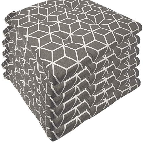 diMio Stuhlkissen -Trend- 42/35x40x5cm im 6er Pack - Moderne Sitzkissen (6 Kissen, Cube Grey)