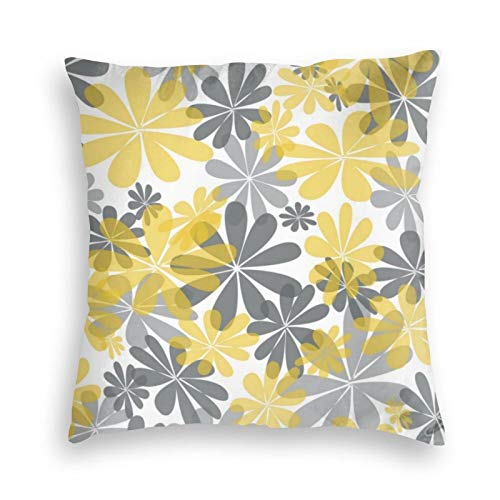 Yellow Gray Flower Velvet Soft Cushion Covers Square Throw Pillowcases for Sofa Bedroom Car with Invisible Zipper 18x18 Inch
