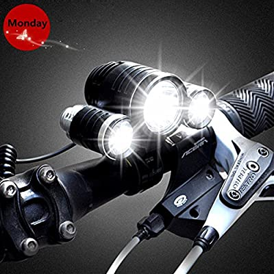 BenRan 5000 Lumen Waterproof Bicycle LED Headlamp Headlight Rechargeable Head Flashlight Lamp with 3 Xm-l T6 4 Modes Outdoor Sports Hiking Camping Riding Fishing Hunting