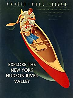 Couple Music Having Fun Explore the New York Hudson River Valley Travel Tourism by Canoe Vintage Poster Repro 12