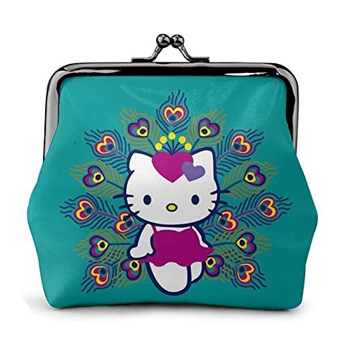 Bolso de cuero con hebilla de flor de Hello Kitty, estilo retro, con cierre de beso, bolsa de regalo, bolsa de cosméticos
