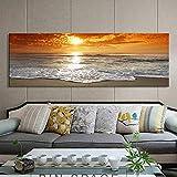 Paisaje Moderno póster e Impresiones del Arte de la Pared Sala de Estar decoración Pintura mar Paisaje Amanecer,Pintura sin Marco,40X120cm