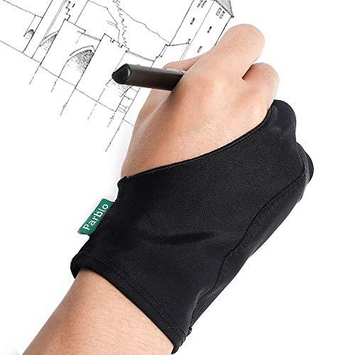 Parblo PR-05 Guantes de Engrosamiento de Dos Dedos para Tableta de Dibujo, iPad, Pantalla gráfica, Pintura artística, Guantes de Artista Protección de la Superficie