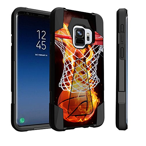 Untouchble Compatible with Samsung Galaxy S9, S9 Kickstand Case [Travelers] Combat Shockproof Two Layer Kickstand Cover - Basketball Fire