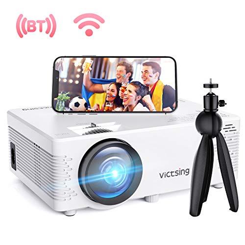 WiFi Beamer, VicTsing Full HD 4500 Lumen WiFi&Bluetooth LED Projektor, 1080P HD 170 \'\' Display 50000 Stunden, Wireless Video Beamer Kompatibel mit Smartphone, TV Stick, HDMI, VGA, SD, AV, USB,Blau