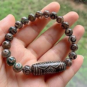Natürliche Tibetische Dzi Agates Armband Ruyi Drachenaugen Grau Grüne Agat Charm Dzi Perlen Strang Armband Energie Reiki-Drachenaugen