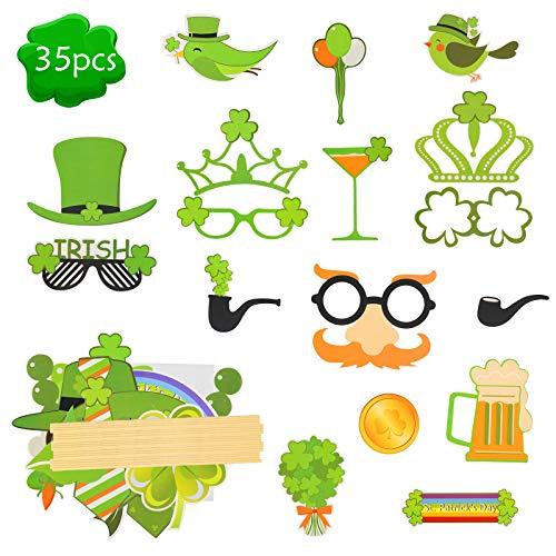 ZERHOK 35Stk St.Patricks Day Photo Booth Props Kleeblätter Irland Fotorequisiten Dekoration Brille Bart Hut Foto Accessoires für Irish Day Party Kostüm Maskerade
