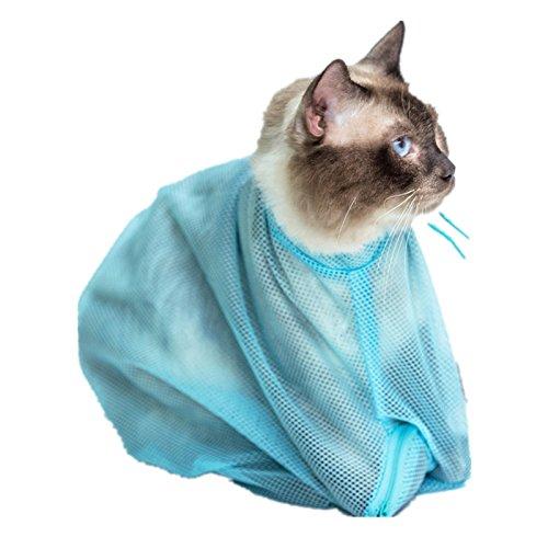 Fully 2 X Katze Pflege Tasche Baden Nägel zu schneiden Ohrreinigung Beutelsack Sack 50 * 30cm (Farbe zufällig)