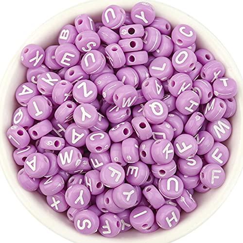 Wopam Cuentas de acrílico con alfabeto multiusos, accesorios para hacer joyas, pulseras creativas hechas a mano