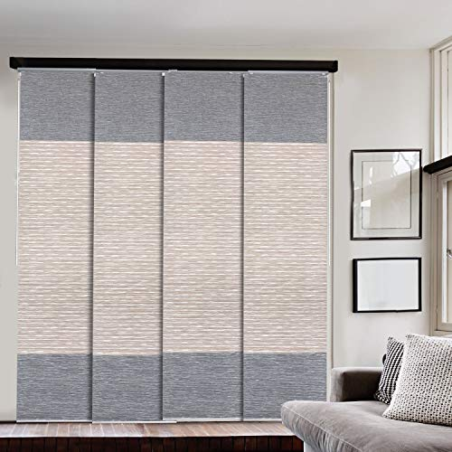 """GoDear Design Deluxe 99.99% Blackout Adjustable Sliding Panel Track Blind 45.8""""- 86"""" W x 96"""" H, Extendable 4-Rail Track, Metallic Luster Trimmable Pleated Natural Woven Fabric, Amazon River"""