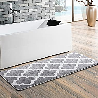 Moroccan Patten Extra Long Bathroom Rug, Uphome Microfiber Washable Non-slip Soft Absorbent Decorative Bath Mats Runner Floor Mat Carpet (18  W x 48  L, Grey)