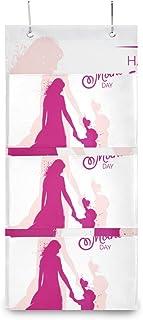 XIXIKO - Pochette de rangement murale à suspendre avec 3 poches pour la fête des mères et les enfants - Sac de rangement m...