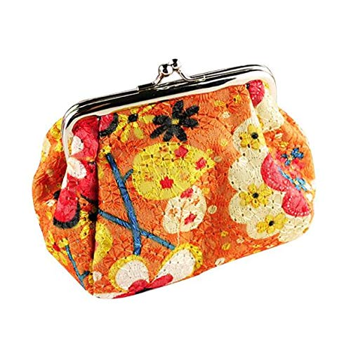 Frauen Retro Lightweight Flower Wallet Modische Hasp Geldbörse Clutch Bag(Orange)