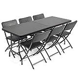 CHRISTOW <span class='highlight'>Rattan</span> Effect Garden Furniture Set Folding 6ft <span class='highlight'>Dining</span> <span class='highlight'>Table</span> 6 Chairs