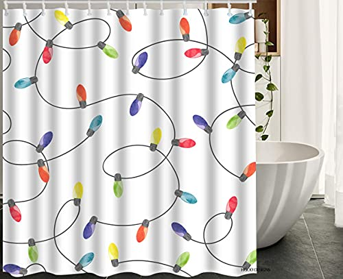 lovedomi Light Bulb's Colorful Watercolor Garland Pattern Simple Graffiti Art Series Decorative Shower Curtain Waterproof Polyester Fabric Shower Curtain 72x72 inch Bathroom Accessory Set
