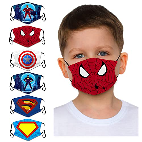 Bestring 6 Pack Cloth Face Bandanas for Kids Boys Girls Cute Cartoon Reusable Washable Cotton Face Protector UV Dust Protection