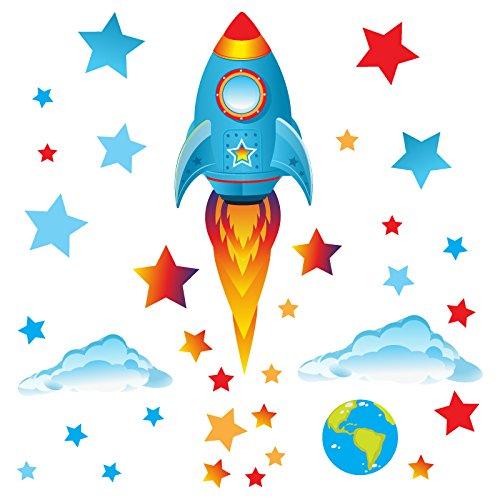 GET STICKING DÉCOR® Weltraum, Weltraumrakete Wandtattoo, Wandsticker Kollektion, Big Blue Rock.20, Glänzend Herausnehmbar Vinyl, Multi Farbe. (Medium Blue Rocket)