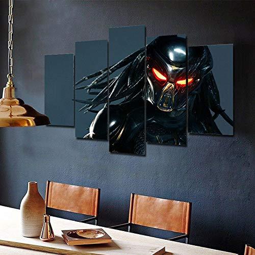 Cuadro sobre Impresión Lienzo 5 Piezas-Mural Moderno La Película Depredador 5 Piezas,No Tejido Lienzo Impresión Dormitorios Decor El Hogar Modular Poster Mural-Listo para Colgar