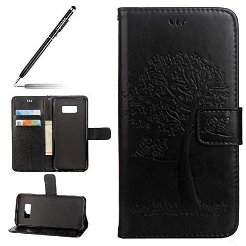 Uposao Kompatibel mit Galaxy S7 Handytasche Bookstyle Klappbar Flip Case Cover Tasche Leder Brieftasche Etui Lederhülle Leder Handy Schutzhülle mit Magnetverschluss,Schwarz