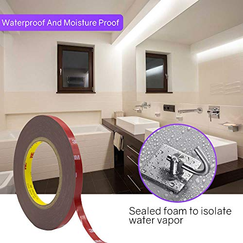 3M Double Sided Tape, HitLights Heavy Duty Mounting Tape VHB Waterproof Foam Tape, 32ft Length, 0.39Inch Width for LED Strip Lights, Home Decor, Office Decor