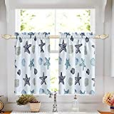 oremila Tier Curtains for Kitchen Windows Starfish café Curtains, 1 Pair 27' x 24' Multi-Color Seashell Conch Printed Half Window Curtain Set for Bathroom Rod Pocket, Blue