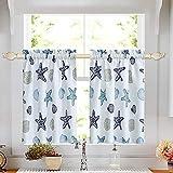 oremila Tier Curtains for Kitchen Windows Starfish café Curtains, 1 Pair 27' x 36' Multi-Color Seashell Conch Printed Half Window Curtain Set for Bathroom Rod Pocket, Blue
