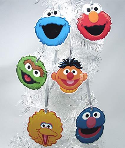 Ornaments Sesame Street 6 Piece Christmas Tree Set Featuring Big Bird, Oscar The Grouch, Cookie Monster, Elmo, Grover, and Ernie Around 2' Tall
