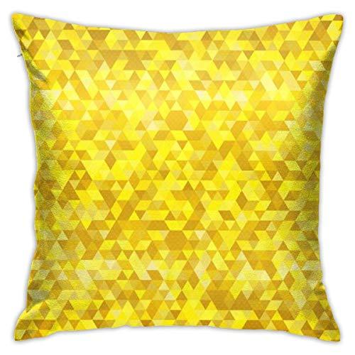 Funda de Almohada Triángulo de Color Dorado Patrón sin Costuras Funda de Almohada de algodón estándar Funda Protectora de Almohada, 18 x 18 Pulgadas