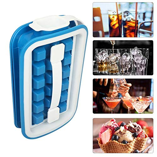 Aoniss 36 Cubes Silicone Ice Cube Tray Foldable Easy Release Mould Molds Insulation Storage Box Ice Cube Maker for Chilled Drinks Whiskey Cocktails