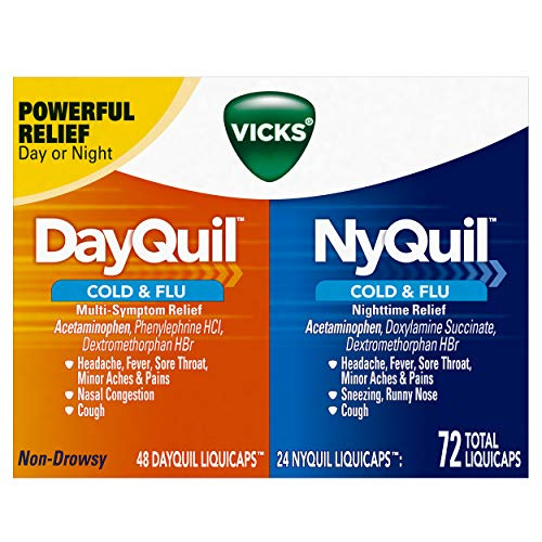 Vicks Dayquil and Nyquil Cough, Cold and Flu Relief Combo, 72 LiquiCaps (48 Dayquil, 24 Nyquil) - Relieves Sore Throat, Fever, and Congestion