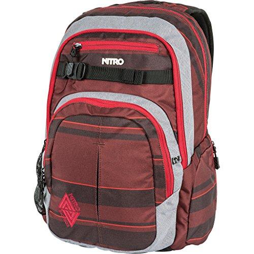 Nitro Chase Rucksack, Schulrucksack mit Organizer, Schoolbag, Daypack mit 17 Zoll Laptopfach, RED STRIPES