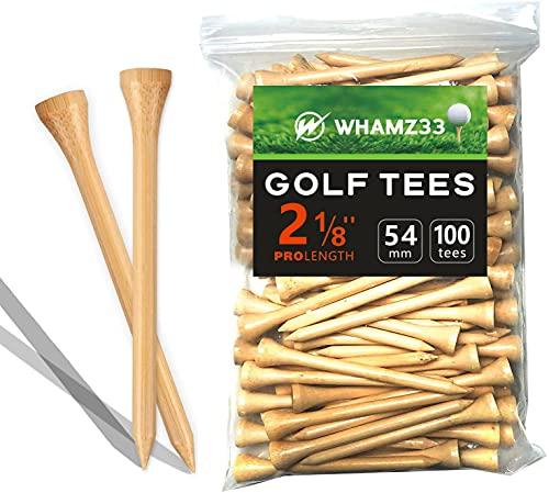 whamz33 Professional Bamboo Golf Tee 2-3 4 inch Tee Pack of 100