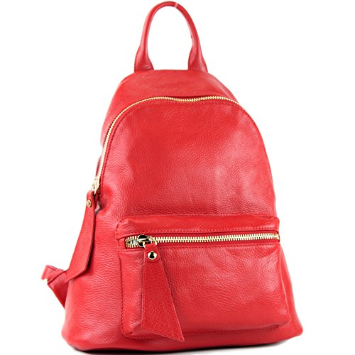 modamoda de - ital. Zaino in pelle Zaino donna Zaino Borsa Citybag in pelle T171A, Colore:rosso