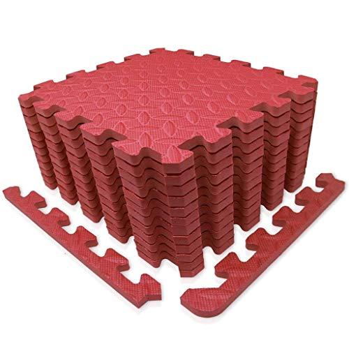 Puzzle EVA Floor Tiles,Interlocking Foam Floor Mat, Crawling Workout Mat Garage Floor Tiles,For Home Workout, Yoga (Color : Red, Size : 24pcs)