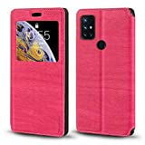 Oneplus Nord N10 5G Case, Wood Grain Leather Case with Card Holder and Window, Magnetic Flip Cover for Oneplus Nord N10 5G