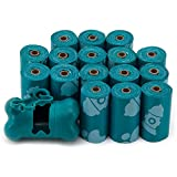 Best Pet Supplies Dog Poop Bags for Waste Refuse Cleanup, Doggy Roll Replacements for Outdoor Puppy Walking and Travel, Leak Proof and Tear Resistant, Thick Plastic - Turquoise, 240 Bags (TQ-240T)