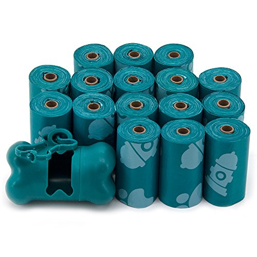 Best Pet Supplies Dog Poop Bags for Waste Refuse Cleanup, Doggy Roll Replacements for Outdoor Puppy Walking and Travel, Leak Proof and Tear Resistant, Thick Plastic - Turquoise, 240 Bags