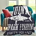 Dozxxthsa Quints Shark Fishing Amity Island Blanket Artistic Lightweight Comfortable and Soft Micro-Fleece Travel Blanket (80 X 60 Inches, A Gift from Mom and Dad)