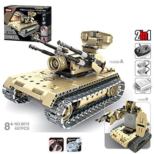 Teakpeak Militär Panzer Bausatz, 457 Stück RC Kampfpanzer Panzer Bausteine 2.4G RC Panzer Ferngesteuert mit Schussfunktion