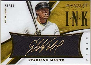 2015 Immaculate Collection Immaculate Ink #15 Starling Marte Autograph Card Serial #'d/49