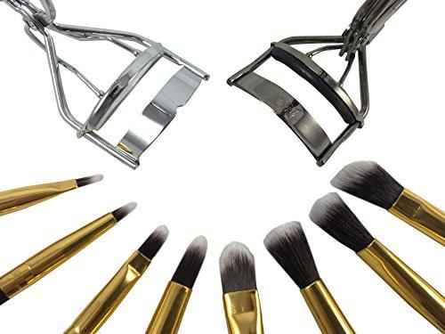 Style S – Maquillage Brush Set avec 2 sans cils curlers- Ombre à paupières, Eyeliner agréable pli – Kit 8 Pinceaux de maquillage essentielles de qualité – Crayon, Shader, conique, Definer – Créer un look zéro défaut.