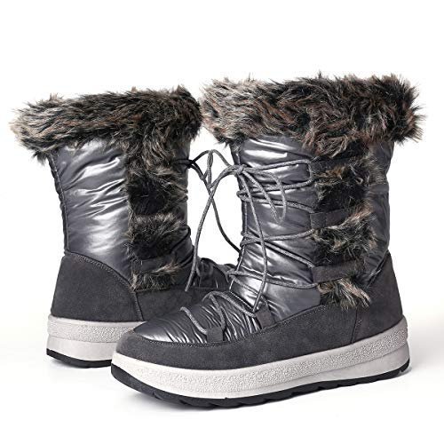 Camfosy Dames platte sneeuwschoenen, meisjes nylon pantoletten sneeuw laarzen warm bont gevoerd regen kortschacht laarzen slipvast comfortabele kunstbont winterschoenen
