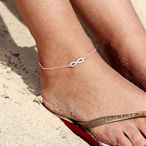 Sethain Boho Tobillera Plata Pulseras de tobillo de cristal Sin fin Joyería del pie Cadenas de pie de moda para mujeres y niñas