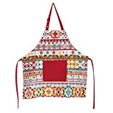 Love Potato Canvas Adjusatble Women and Men Kitchen Cooking Apron Rhombus Plaid Apron, Preferred Choice for Chef Aprons & Ideal for Home Chefs Too-be it Baking, Cooking, Barbecuing (Red)