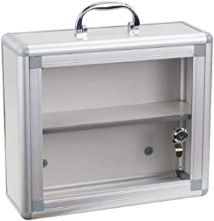 JJJJD Emergency First Aid Kit, Wall Mounted Lockable Medical Cabinet with + Security Glass Door