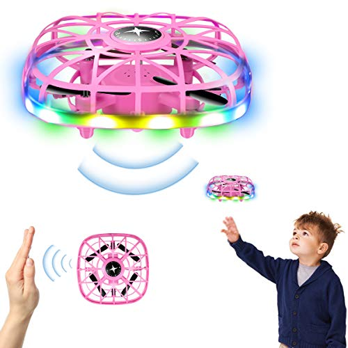 LEITINGGABA RC Drone, Mini Drone for Kids, Hand Operated Flying Toy with 360° Rotating and LED Light, Easy Indoor Outdoor Hand Controlled Flying Ball, USB Rechargeable Mini UFO Drone for Boys & Girls