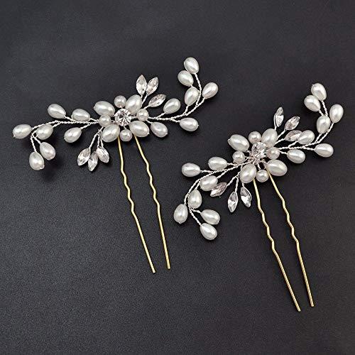 Losuya 4 x elegante Damen Perle Strass Haarspangen Hochzeit Braut Haarschmuck