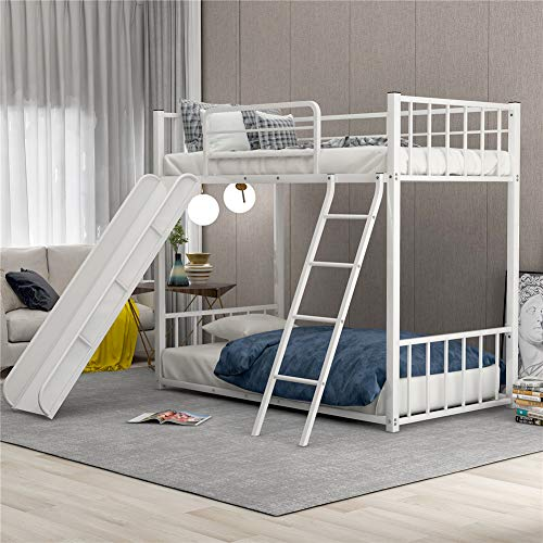 Metal Loft Bunk Bed with Slide and Ladder, Multifunctional Design, with Safety Guard Rails for Kids Teens Adults/Easy to Assemble/No Box Spring Required (White)