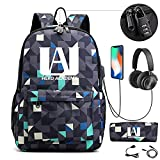 My Hero Academia Anime School Backpack Backpack Student Girl Boy Casual Laptop Toys w/USB Charging Port (C)