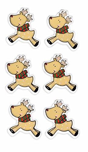 Rössler 9005-111 Reindeer Houten Sticker (Pak van 6)